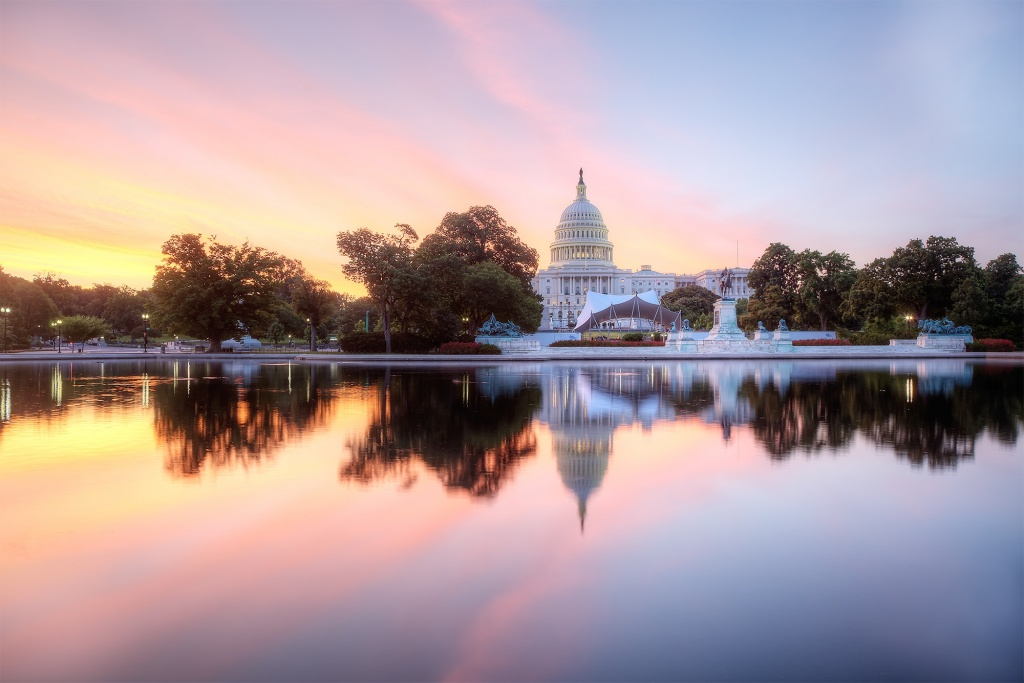 us capitol, reflection, sunrise, pink, folklife festival, smithsonian, stage, setup, weekend
