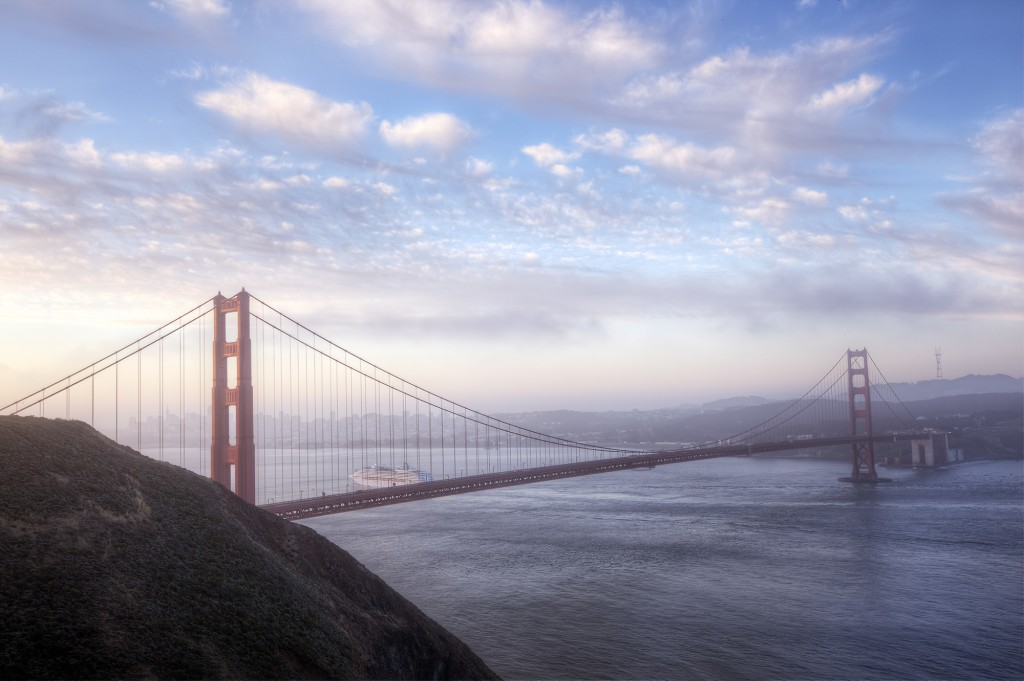 san francisco, california, sunrise, golden gate bridge, clouds, boat, travel, usa, united states