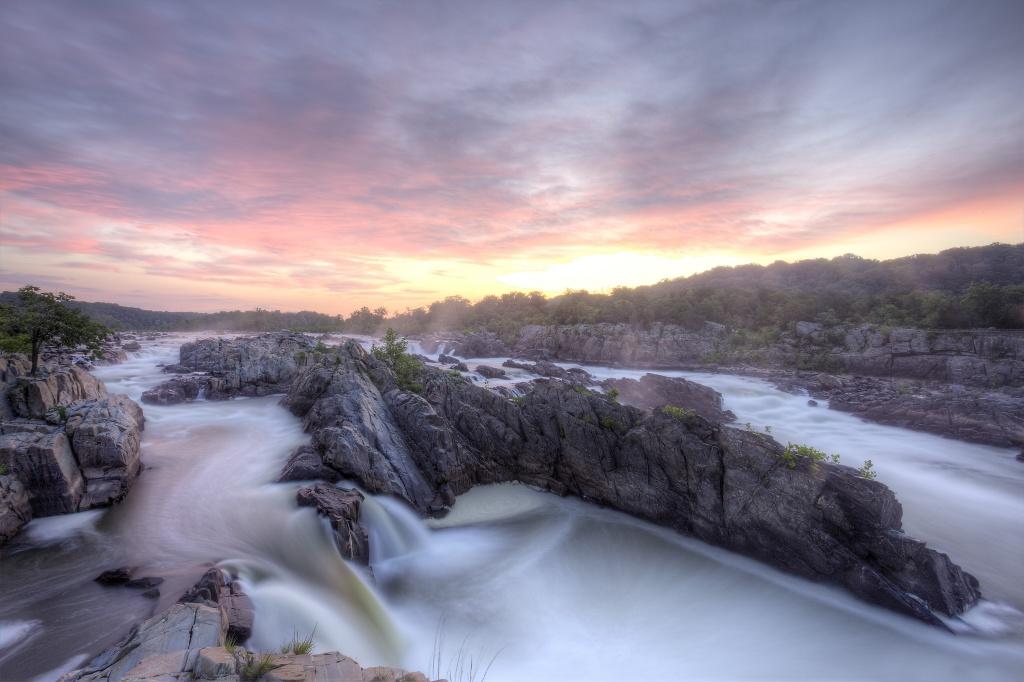 great falls park, great falls, virginia state park, va, sunrise, waterfall, rocks, landscape