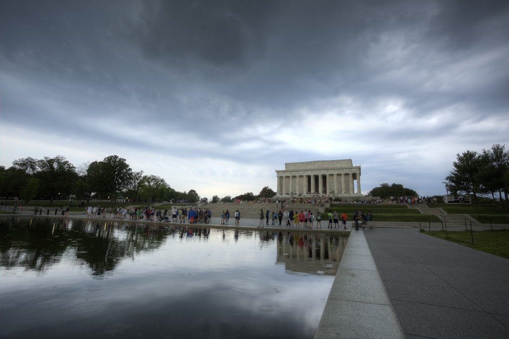 lincoln, memorial, abraham lincoln, reflecting pool, sunset, tourists, washington dc, clouds, rain, weather
