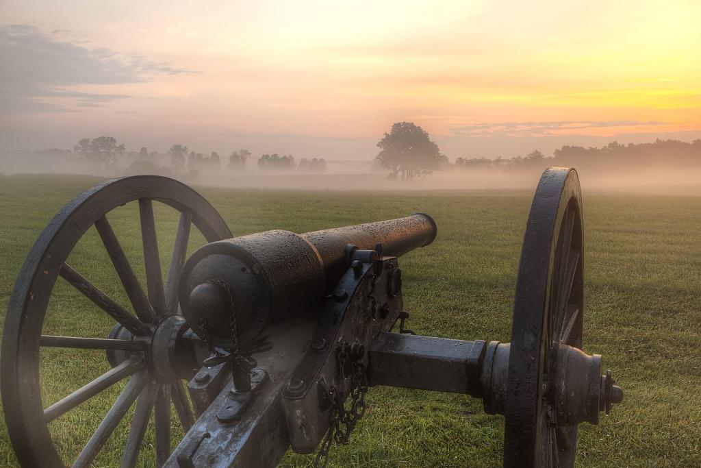 manassas national battlefield park, park, national park service, nps, sunrise, canon, fight, trees, fog, virginia, va, travel, sunrise