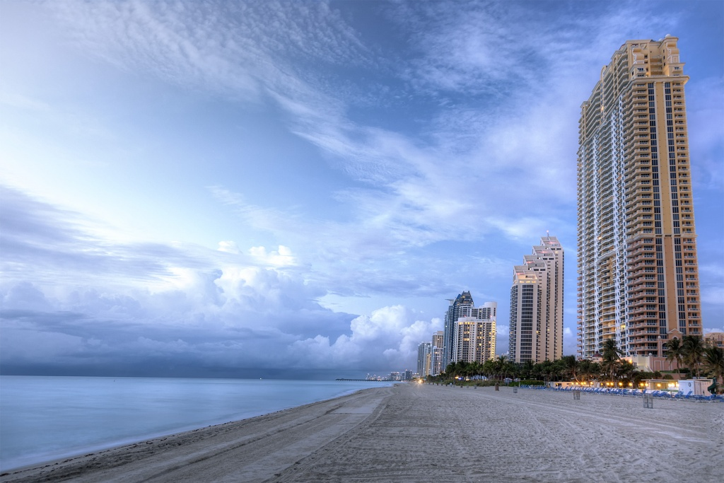 miami, florida, beach, shore, hotels, buildings, sunrise, clouds, ocean, atlantic,