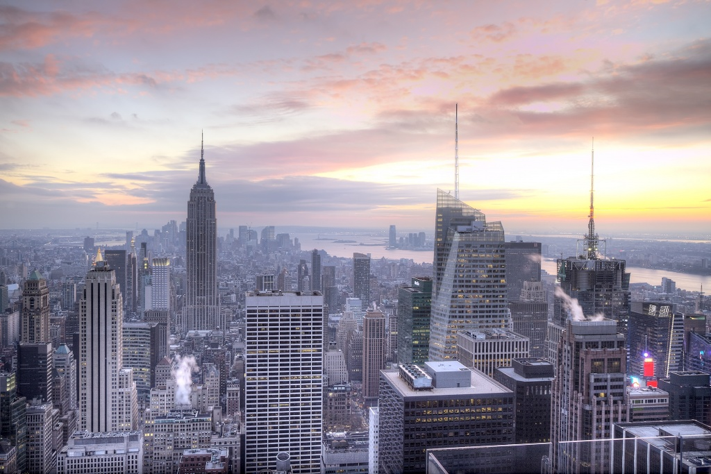 new york, empire state building, sunset, top of the rock, rockefeller, skyline, new york
