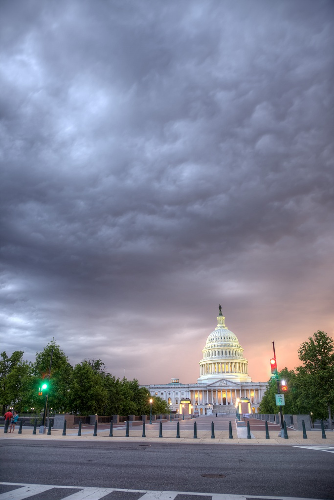 capitol, storm, rain, glow, sunset, first street, first st, crosswalk, us capitol, washington dc, traffic, traffic light