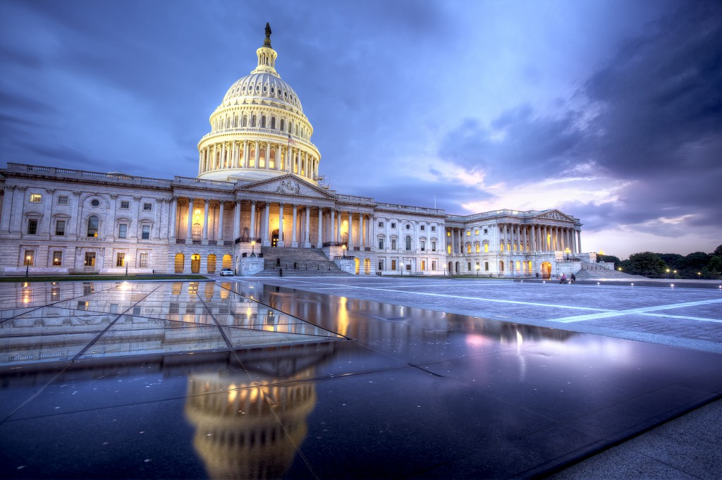 capitol, night, storm, sunset, dome, architecture, reflection, seating wall, clouds, blue, washington dc, travel
