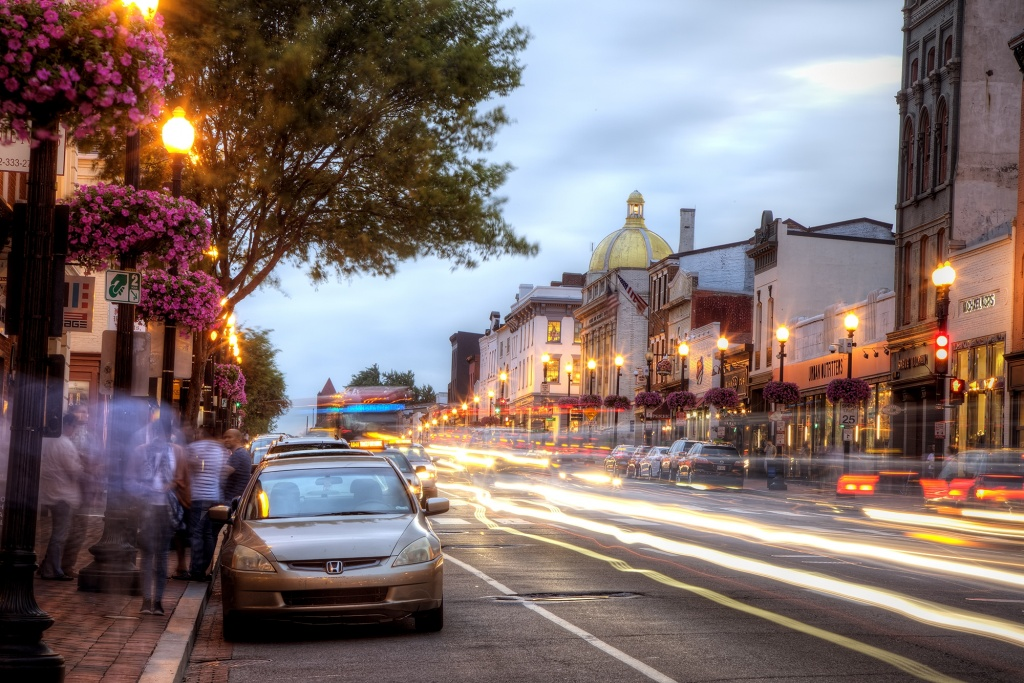 georgetown, light trails, cars, buses, city bus, light, wisconsin, urban outfitters, washington dc, travel, traffic, cars,