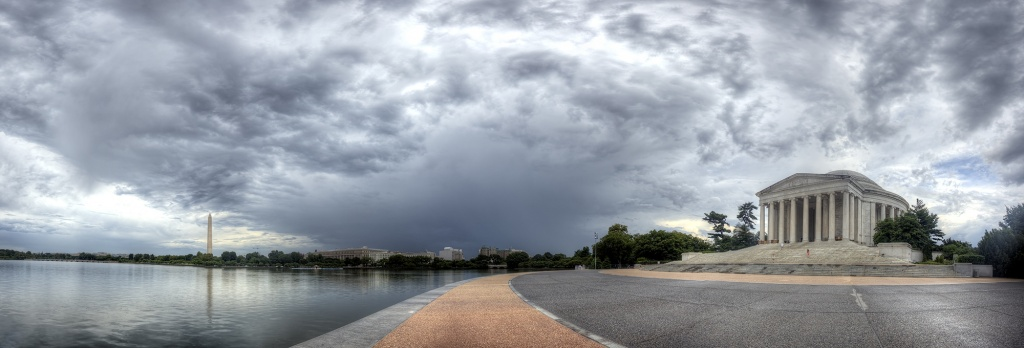 tidal basin, jefferson memorial, washington monument, clouds, storm, rain, panoramic, pano, sidewalk, washington dc, america, usa