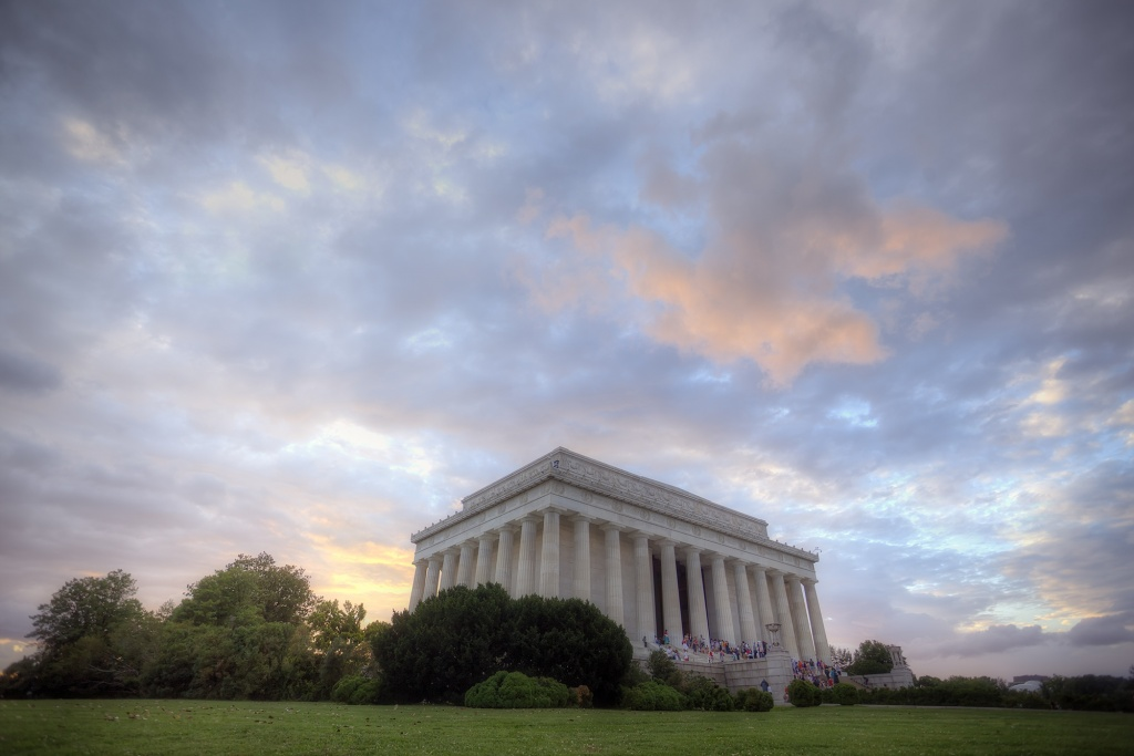lincoln, memorial, sunset, clouds, washington dc,