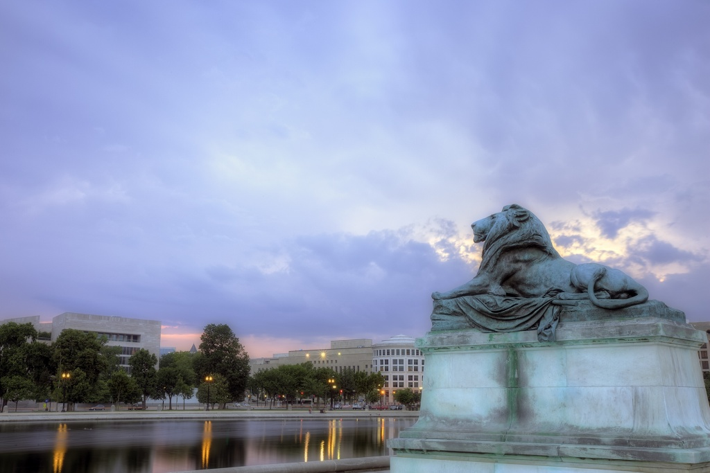 lion, statue, dc, sunset, capital, streaks, landscape, unique