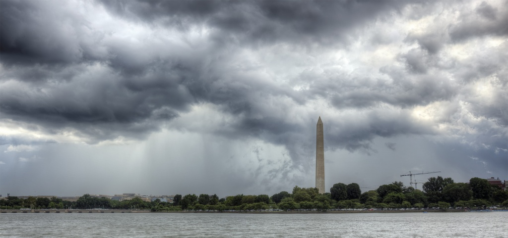 washington monument, storm, clouds, rain, jefferson memorial, washington monument, washington dc, travel, weather, america, usa, rain