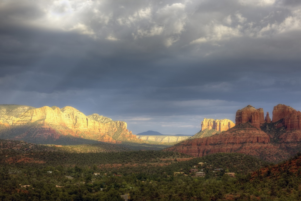 sedona, arizona, az, rain, red rocks, landscape, travel, color, blue, cathedral rock, bell rock