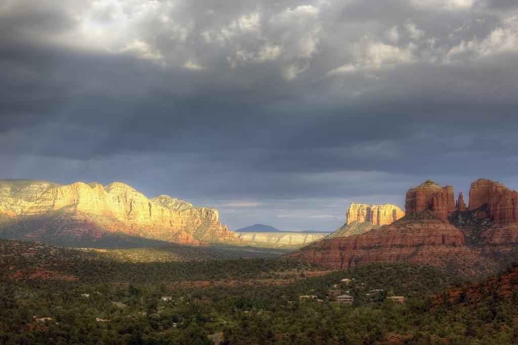 sedona, arizona, az, rain, red rocks, landscape, travel, color, blue, cathedral rock, bell rock