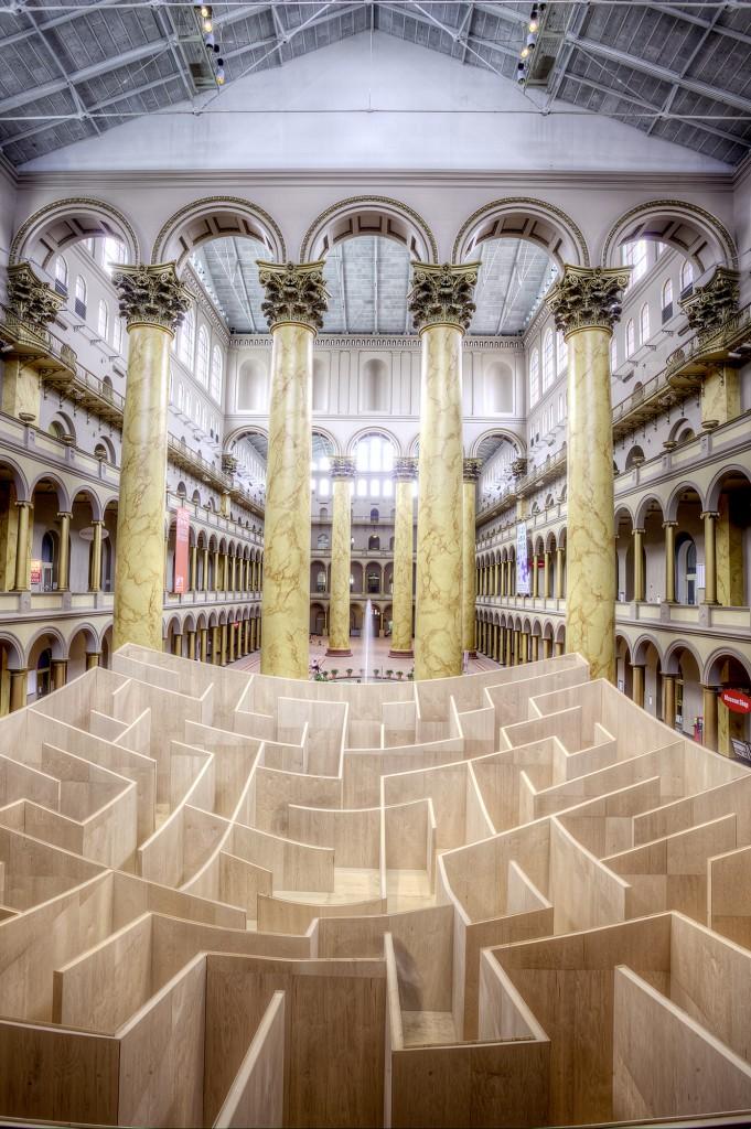 national building museum, washington dc, maze, special exhibit, columns, architecture, interior,