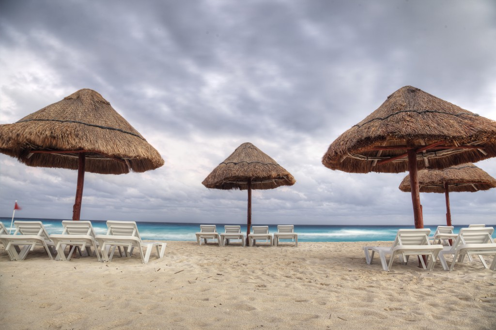 cancun, mexico, mx, beach, storm, clouds, umbrellas, chair, summer