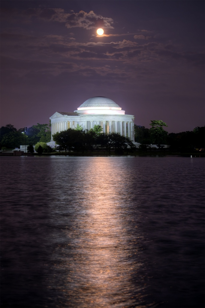 jefferson memorial, tidal basin, super moon, clouds, water, reflection, washington dc, weather, travel, usa, america, moon