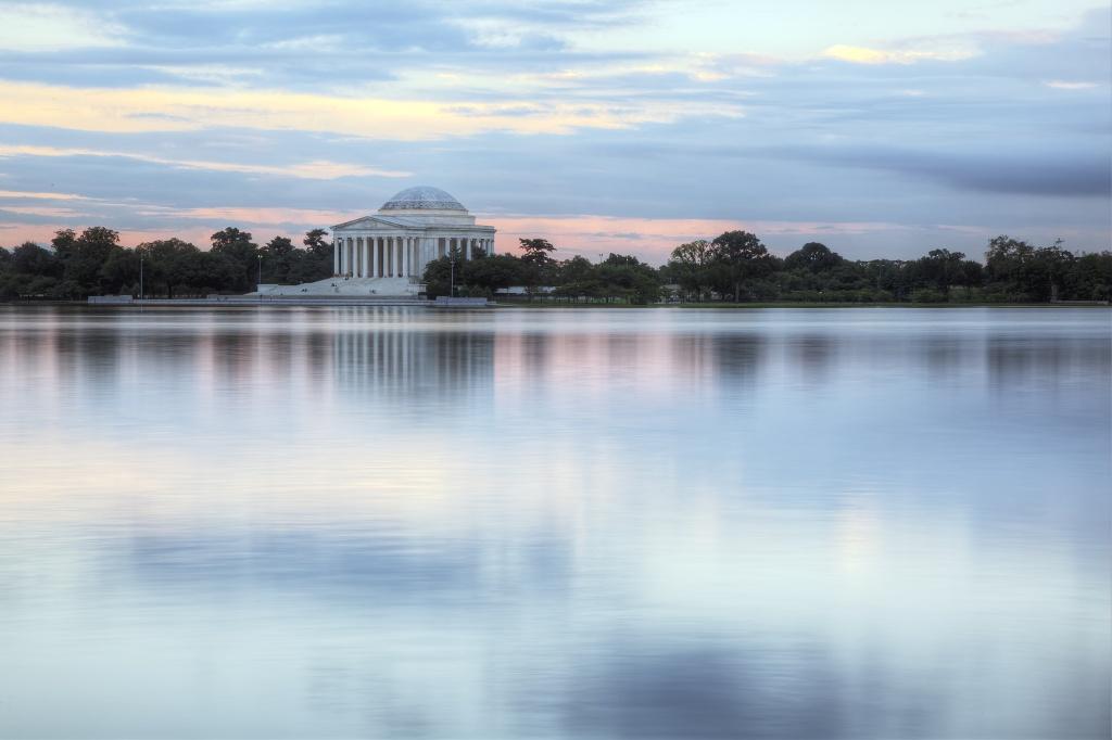 jefferson, memorial, tidal basin, clouds, washington dc, reflection, water,