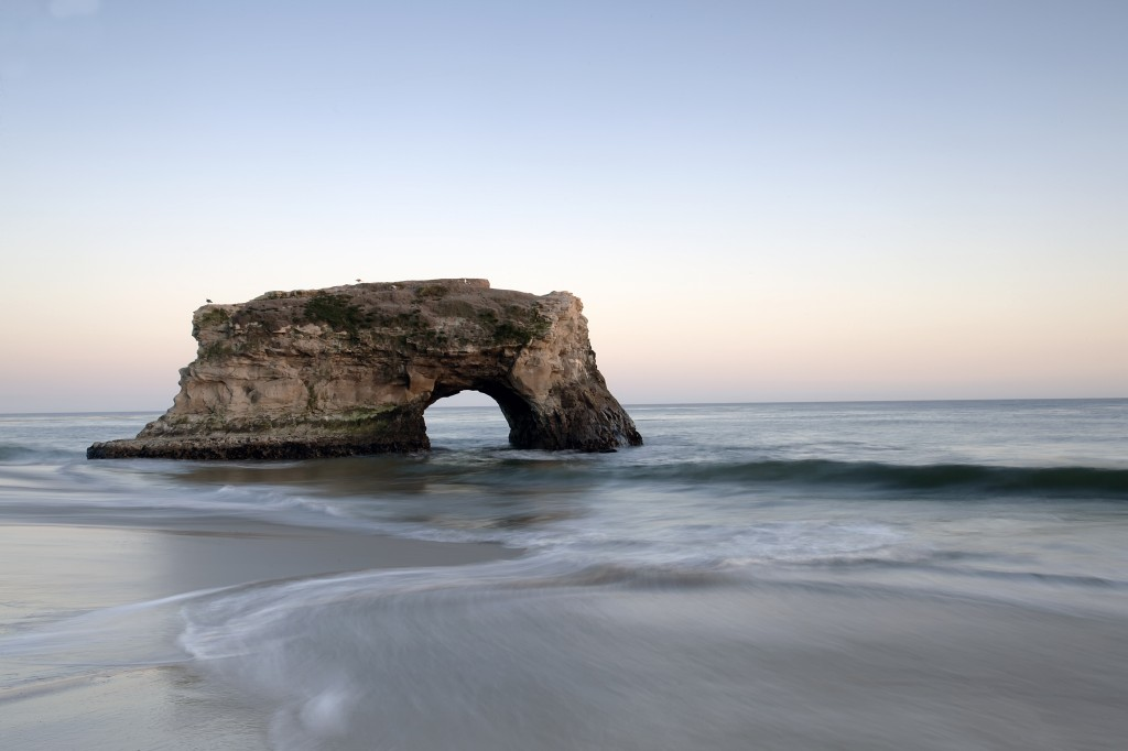natural bridges, state park, ocean, water, line, reflection, california, ca, travel, sunset, clear sky,