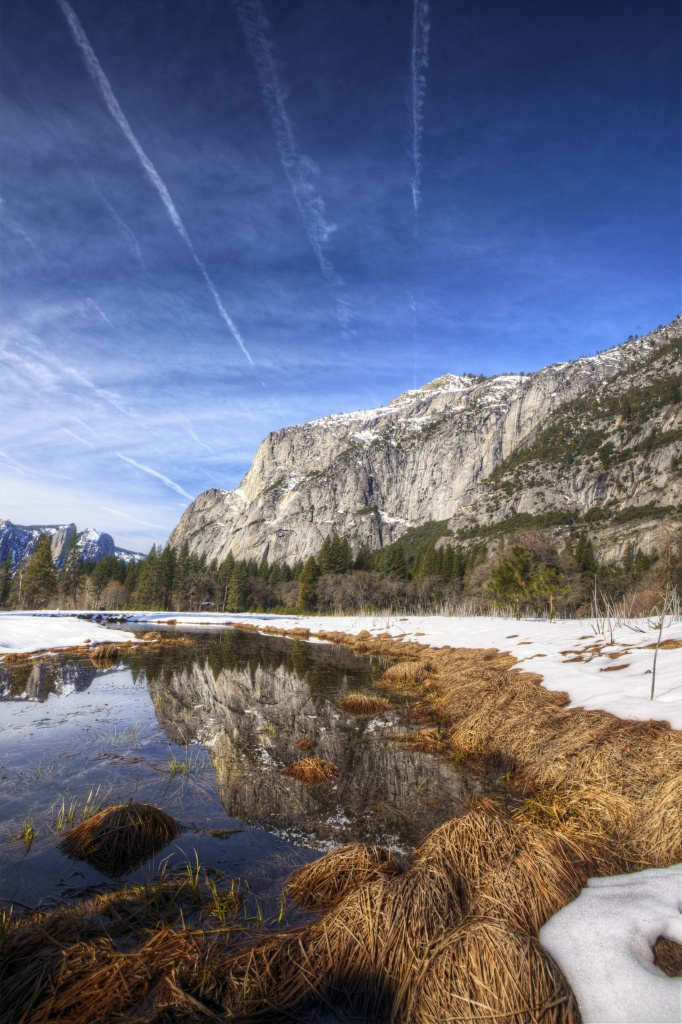 yosemite, national park, cook meadow, abpan, california, ca, reflection, hdr, snow, ca, travel, winter