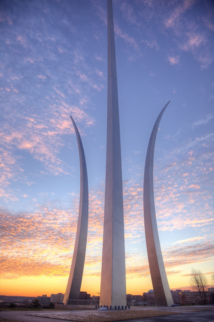 air force memorial, virginia, sunset, memorial, va, clouds,
