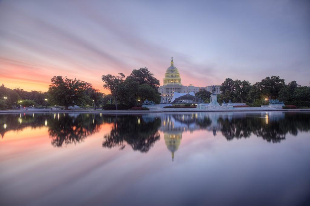 capitol, us capitol, building, sunrise, reflection, clouds, weather, washington dc,
