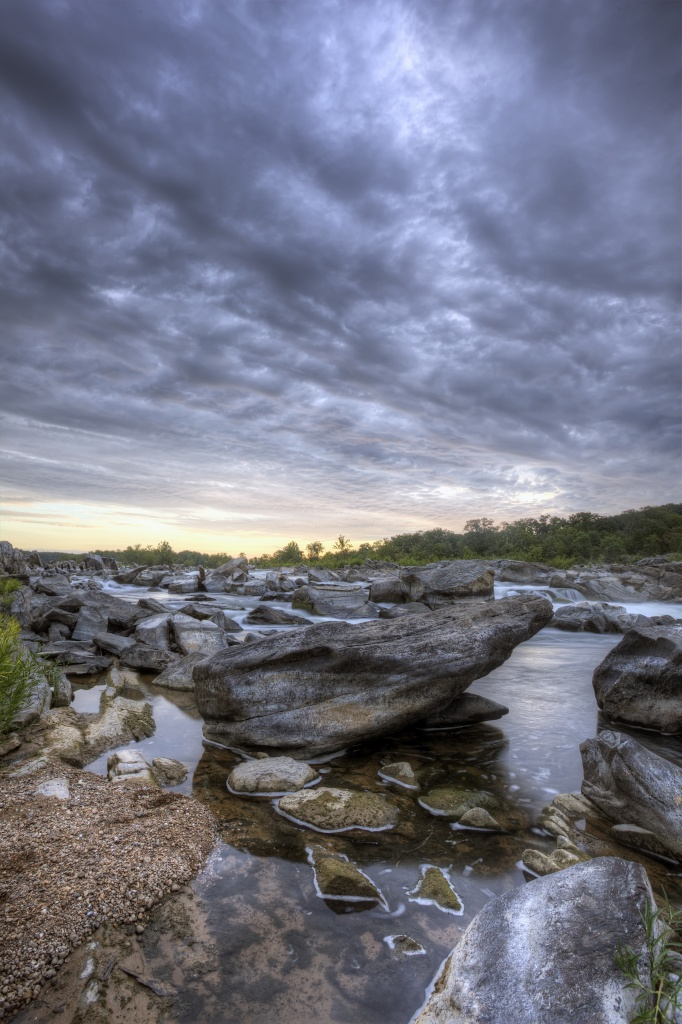 great falls park, virginia, state park, rocks, sunrise, clouds, storm, water, waterfall, mather gorge, potomac, va, travel,