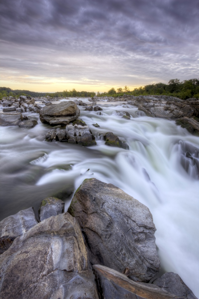 great falls, waterfall, gorge, virginia, va, rocks, water, sunrise, clouds, state park