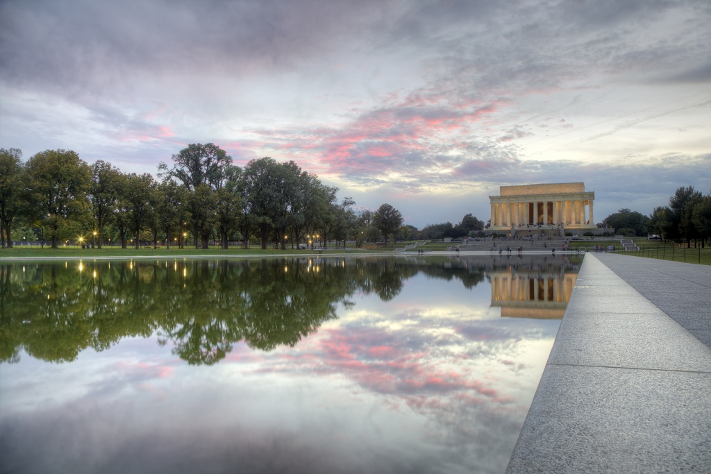 reflecting pool, lincoln memorial, washington dc, sunset, pink, clouds, reflection, travel, capital, trees, architecture