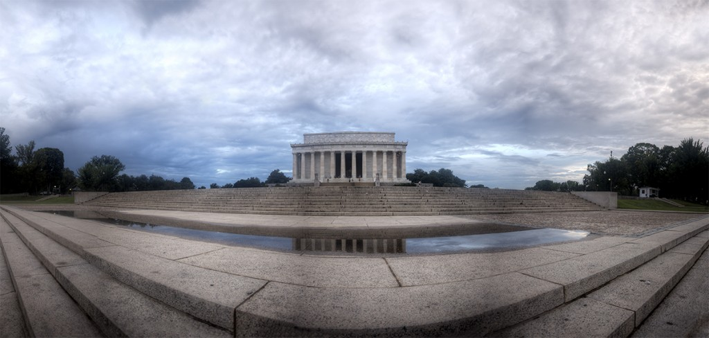 lincoln memorial, abraham lincoln, memorial, reflection, morning after, storm, rain, reflection, puddle, washington dc, sunrise, clouds