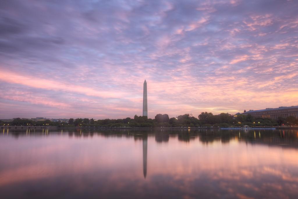 clouds, pink, reflection, washington monument, tidal basin, washington dc, sunrise, weather, travel
