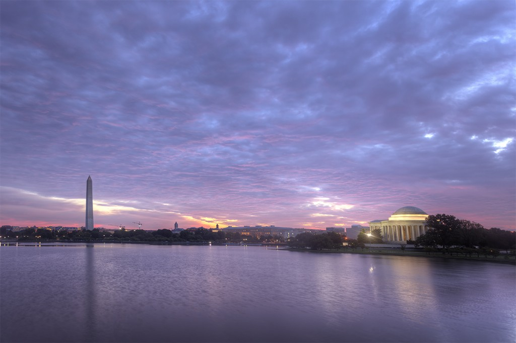tidal basin, sunrise, washington dc, reflection, jefferson memorial, washington monument, clouds, storm, travel, capital