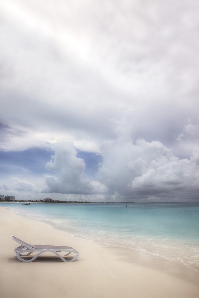 turks and caicos, chair, beach, clouds, storm, hurricane, lounge, cornoa commerical, relax, caribbean, travel