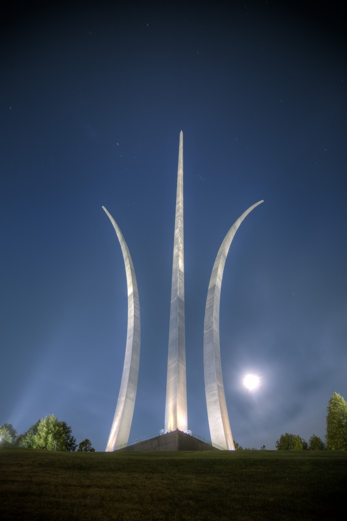 air force memorial, arlington, full moon, virginia, stars, lights, memorial, tour dc, monuments, travel, usa, capital, moon, october