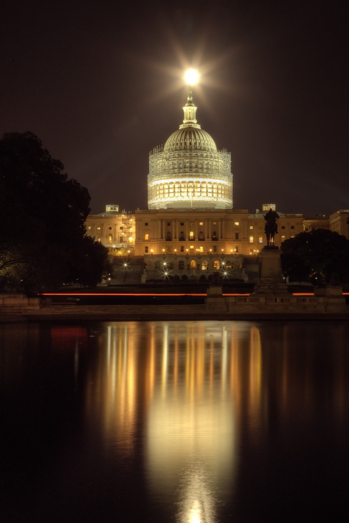 full moon, capitol, scaffolding, construction, washington dc, night, reflection, reflecting pool, star,
