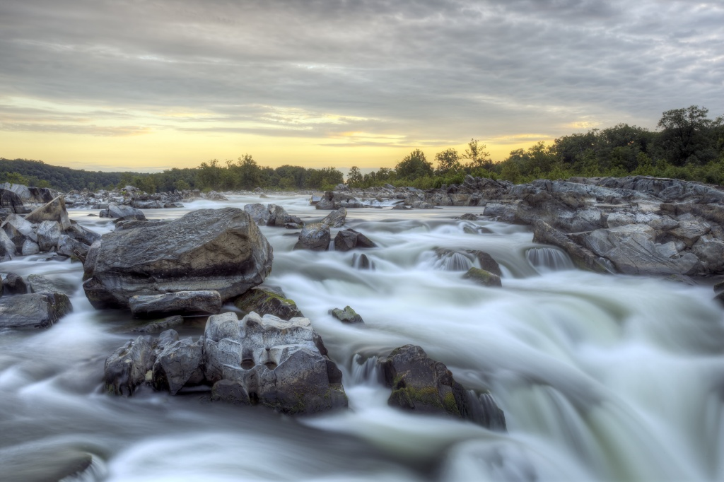 great falls, sunrise, park, state park, virginia, va, mather gorge, potomac river, rocks, waterfall, build up, va