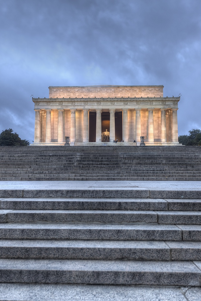 lincoln memorial, steps, clouds, storm, travel, architecture, climb, morning,