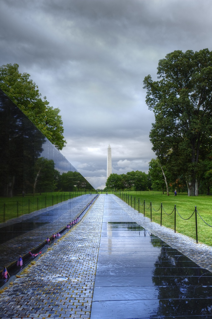 vietnam, veterans, memorial, washington dc, travel, clouds, storm, reflection, washington monument, travel, usa, vietnam war,