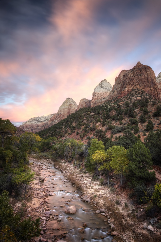 zion national park, nps, national park service, utah, zion, sunset, virgin river, court of the patriarchs, sunset, travel, utah