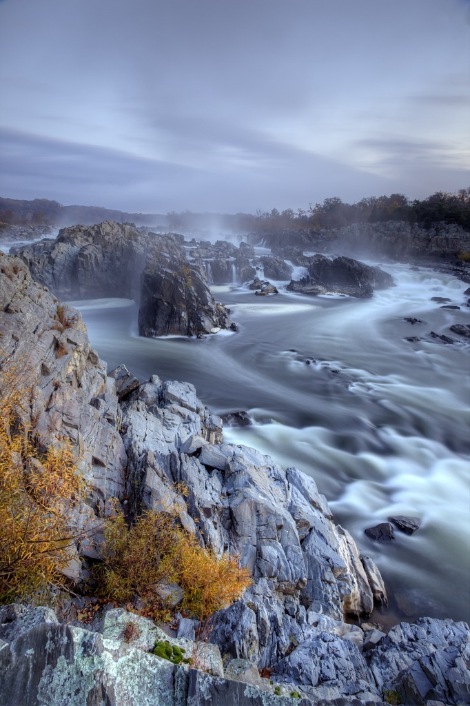 fog, great falls, state park, mather gorge, potomac, waterfall, weather, autumn, fall, sunrise
