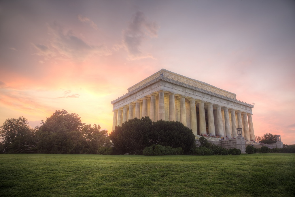 lincoln, sunset, summer, night, washington dc, architecture, sky, clouds, weather, memorial