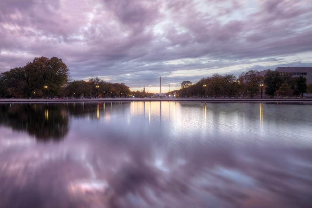 washington monument, the monument, washington dc, the mall, national mall, reflecting pool, sunset, clouds, reflection, travel