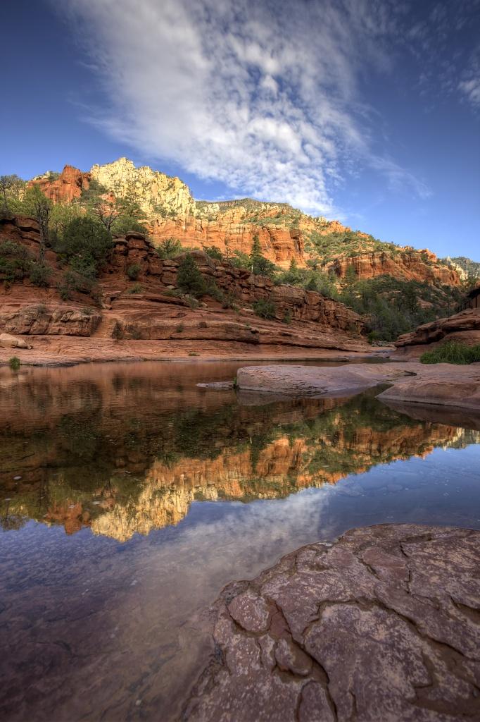 arizona, az, slide rock, state park, reflection, fall, travel, landscape,
