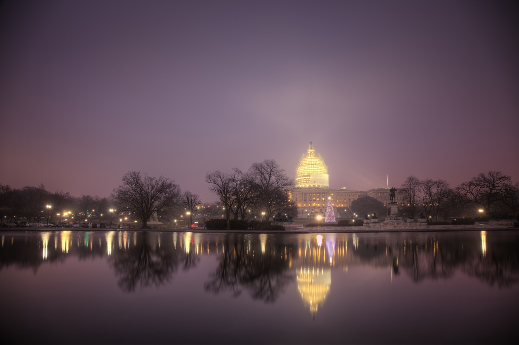 us capitol, united states, angela b pan, christmas tree, fog, sunrise, washington dc, holidays, trees, christmas ornament