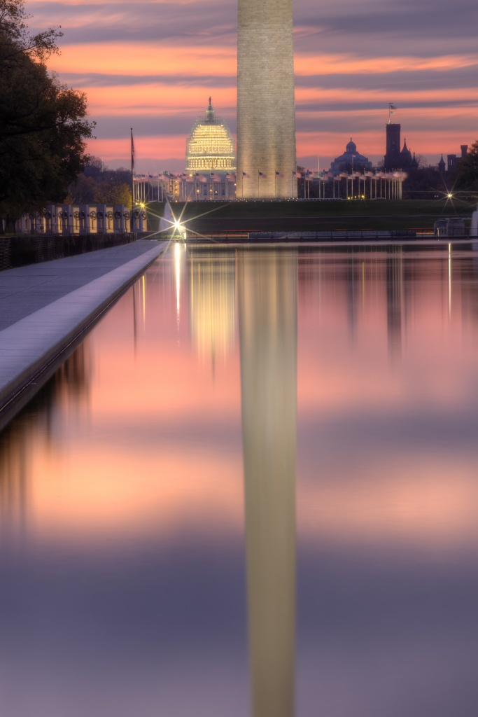 washington monument, reflection, reflecting pool, us capitol, washington monument, dc, capitol, capital, sunrise, sky, pool