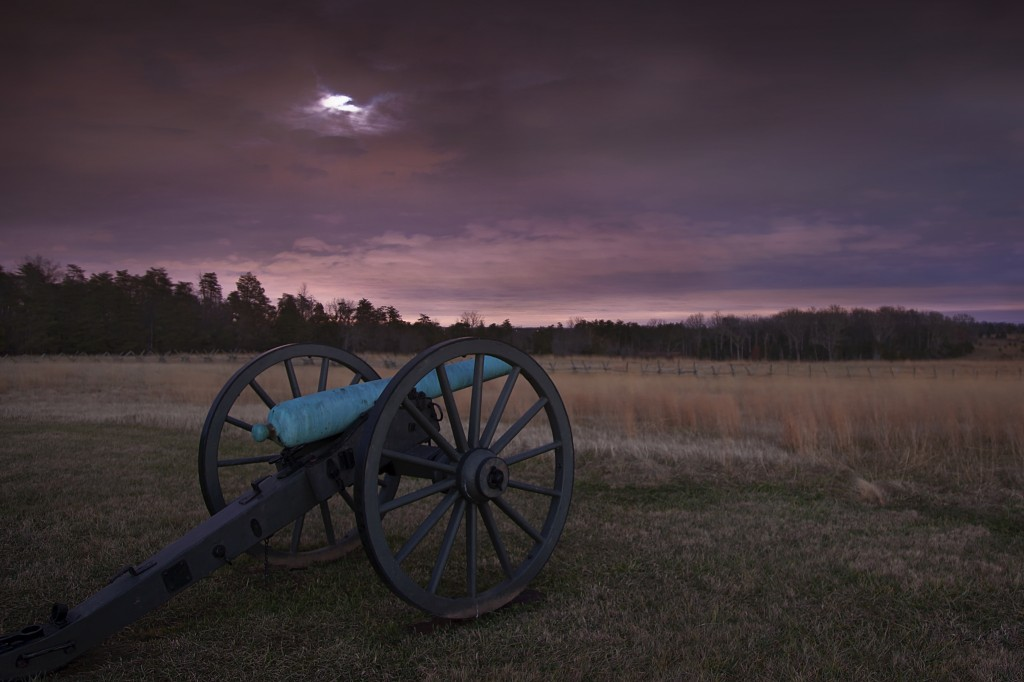 manassas, canon, artillery, virginia, va, night, full moon, purple, battlefield, national park, war