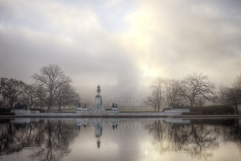 capitol, fog, us capitol, congress, government, house of representatives, government, reflection, water, pool, fog, weather, sunrise, sun, washington dc, capital
