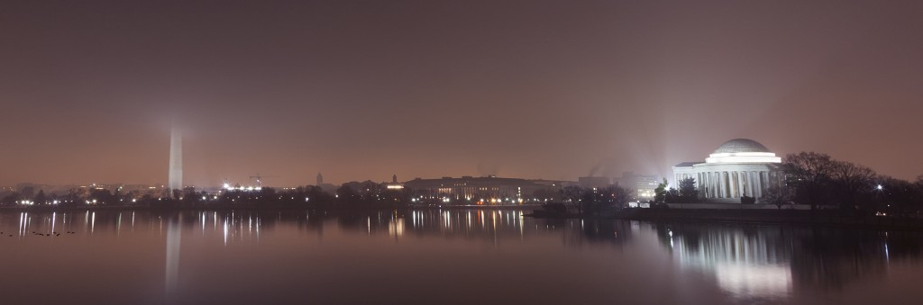 fog, weather, tidal basin, washington dc, washington monument, jefferson memorial, night, landscape, travel, walk