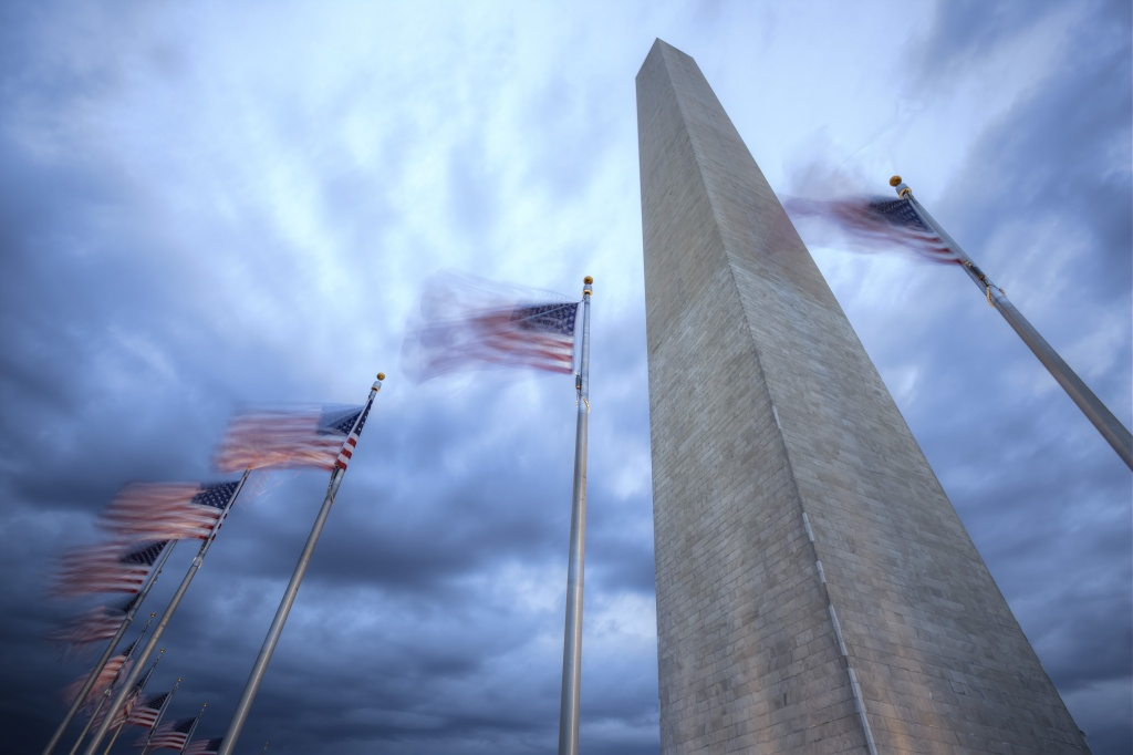 washington monument, flags, washington dc, wind, windy, weather,  perspective, sky, blue, american flags, blowing