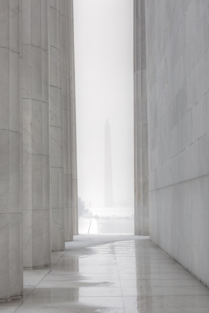 washington monument, washington dc, lincoln memorial, snow, winter, landscape, travel, reflection, architecture