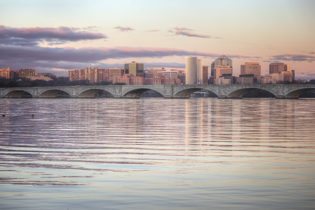 wind, arlington, virginia, va, dc, washington dc, Ohio dr, weather, sunrise, skyline, buildings, bridge