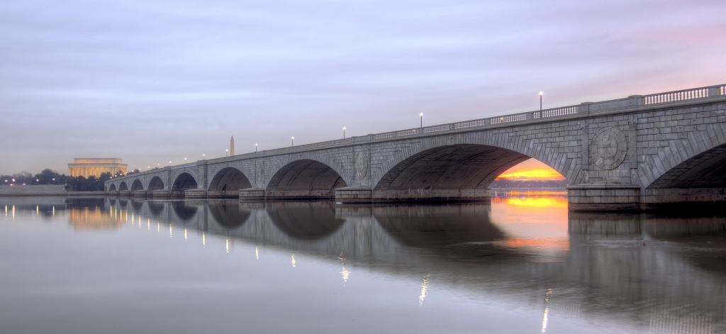 arlington, memorial bridge, gw parkway, virginia, arlington, potomac, river, lincoln memorial, washington dc, sunrise, trail